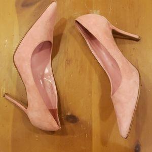 Rose suede heels